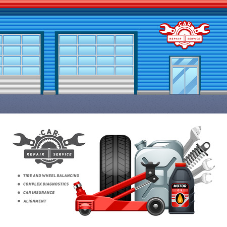 website banner: Car service garage 2 horizontal banners composition advertisement poster with tire and motor oil abstract vector illustration