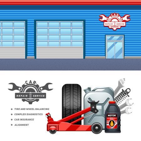 Car service garage 2 poziome transparenty plakat składu reklamy z opon i oleju silnik abstrakcyjna ilustracji wektorowych