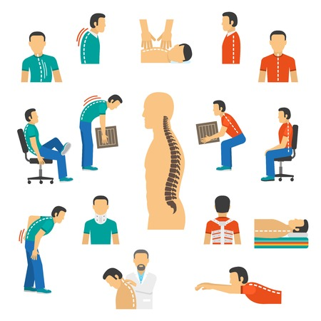 vertebra: Flat color isolated icons for diagnosis spine diseases and treatment back pain vector  illustration Illustration