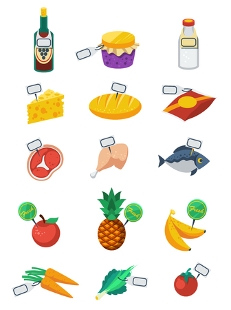banana bread: Supermarket flat color decorative icons set of food products and price tags with vegetables fruits meat dairy and bakery products isolated vector illustration