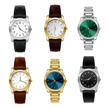 Realistic wrist watches set with leather and metal belts isolated vector illustration