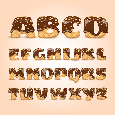 abc kids: Frosted chocolate sprinkled waffles letters sweet alphabet dessert for kids pictograms collection  poster realistic abstract vector illustration Illustration