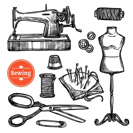Hand getrokken schets naaien set met mannequin schaar vingerhoed geïsoleerd pins buttons naaimachine symbolen vector illustratie