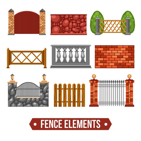 boundaries: Fence design elements set with stone wooden metal marble units flat isolated vector illustration Illustration