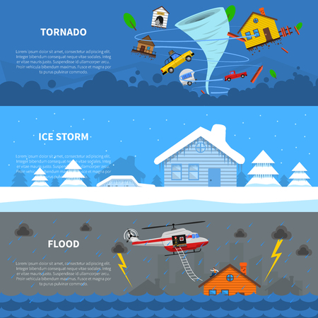 storm damage: Natural disaster 3 flat horizontal banners set with freezing rain ice storm and tornado abstract isolated vector illustration
