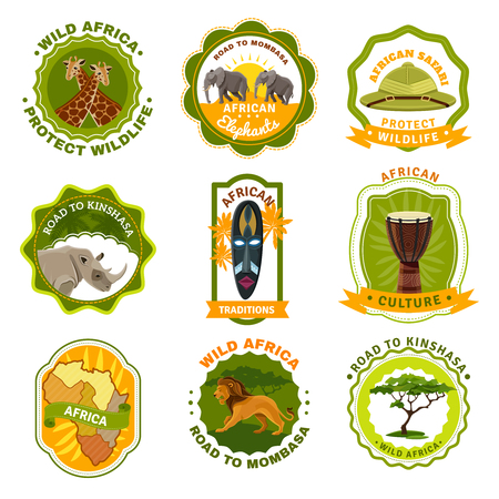 safaris: Africa emblems set with travel and traditions symbols cartoon isolated vector illustration