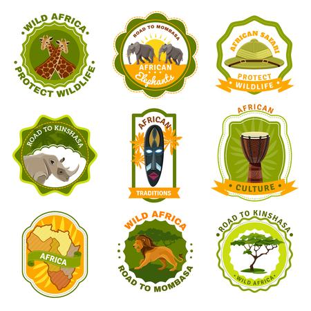 logo voyage: Afrique emblèmes défini avec des symboles de voyage et traditions bande dessinée isolé illustration vectorielle