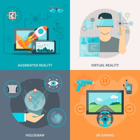 Flat 2x2 images set of augmented and virtual reality hologram and VR gaming vector illustration