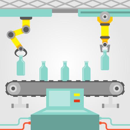 conveyor system: Robotic arm concept with factory conveyor line flat vector illustration Illustration