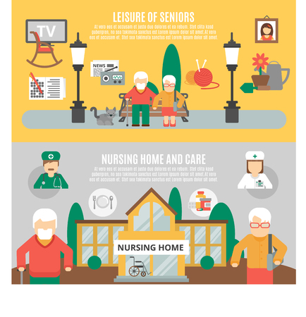 home care nurse: Horizontal flat banners presenting leisure of seniors and nursing home and care vector illustration Illustration