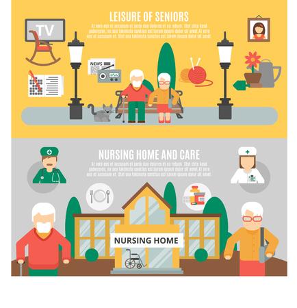 Horizontale vlakke banners die vrije tijd van oudsten en verpleeghuis en zorg vectorillustratie voorstellen