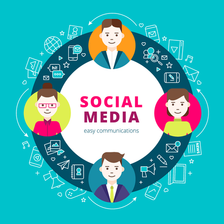 participate: Social media group design concept set of line network icons and creative people participate in internet community flat vector illustration Illustration