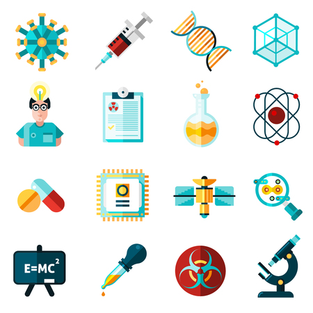 science symbols: Science icons set with theory and results symbols flat isolated vector illustration
