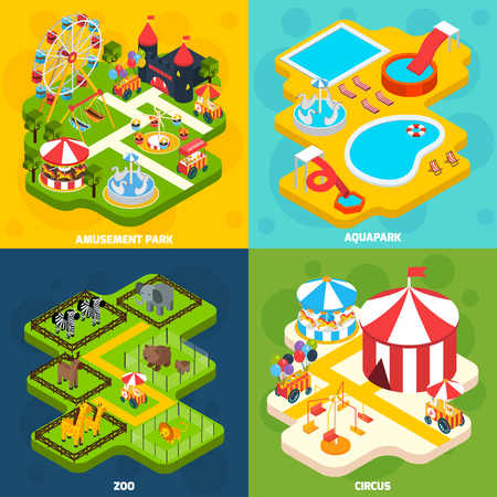 Amusement park with aqua attractions elements 4 isometric vector icons square composition banner abstract isolated vector illustration