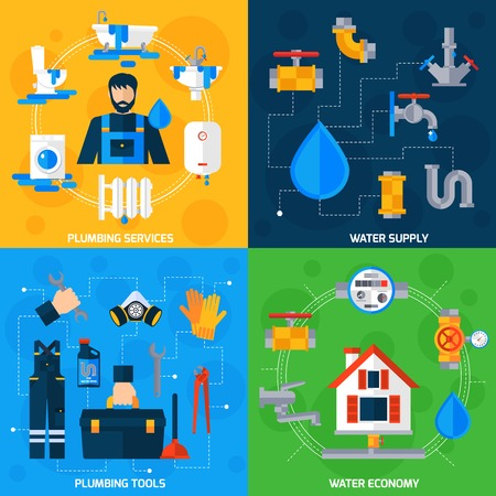 leaks: Plumber serviceman tools kit for fixing pipeline leaks 4 flat icons square composition abstract isolated vector illustration