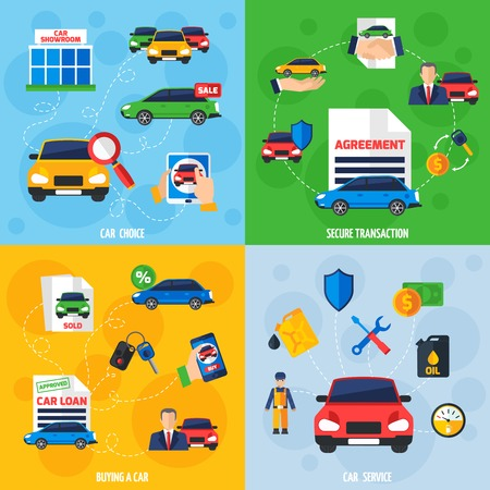 car salesperson: Car showroom with vehicles for sale and safe payment options 4 flat icons square composition banner vector illustration Illustration