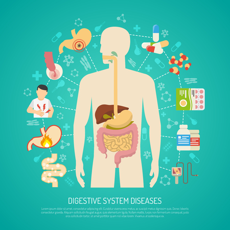 poisoning: Digestive system diseases with human body on green background flat vector illustration