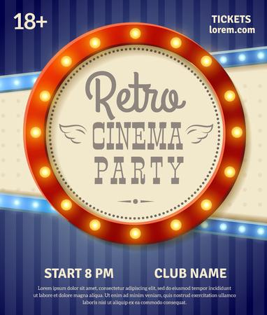 retro cinema: Retro cinema party poster with light banner realistic vector illustration Illustration