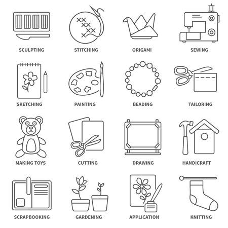 Hobby icone linea piatta impostati con schizzi simboli pittura giardinaggio isolati illustrazione vettoriale Vettoriali