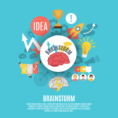 brainstorm: Flat poster composed of different brainstorm icons including red brain in center on blue background vector illustration Illustration