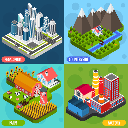 megalopolis: Factory farming agriculture countryside facilities and megalopolis 4 isometric icons square composition banner abstract isolated illustration vector
