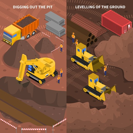 leveling: Construction machinery at work pit digging and ground leveling 2 isometric vertical banners set abstract vector illustration