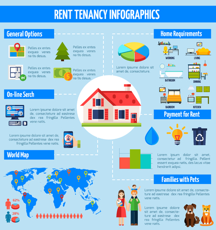 searching: Rent and tenancy infographics set with property symbols and charts vector illustration Illustration