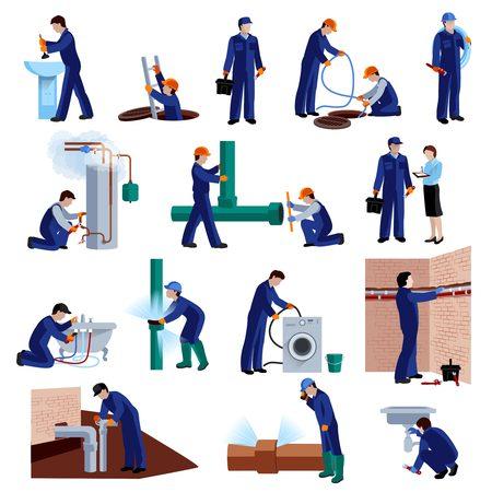human figure: Fontanero iconos planos establecidos con la ilustración vectorial de fijación profesional de reparación de tuberías de agua aislado