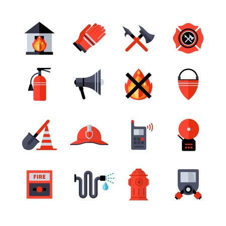 barrage: Fire department decorative flat icons collection of fireman equipment and tools with hatchet bucketful spade helm extinguisher isolated vector illustration