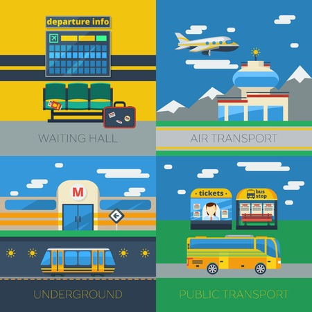 departure: Passenger transportation 2x2 design concept set of air transport public bus stop   waiting hall in airport terminal and underground compositions vector illustration