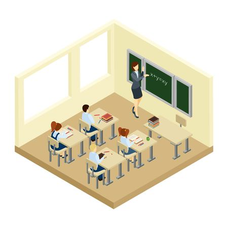school boys: School with boys girls and a teacher in a small classroom isometric vector illustration