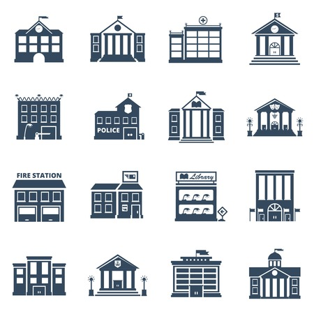 building fire: Government building black icons set of fire station library prison post office isolated vector illustration