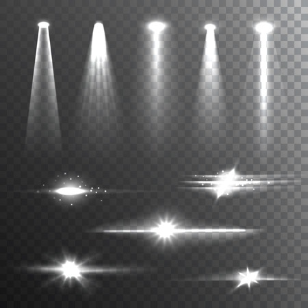 gleaming: White beam lights set of different shapes and projections gleaming in the darkness banner abstract vector illustration