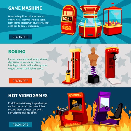 slot machines: Game machine banners with hot video games boxing and slot machines flat vector illustration