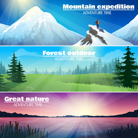fog forest: Camping travelling outdoor adventures 3 horizontal banners set with forest and snowy mountains landscape abstract illustration vector