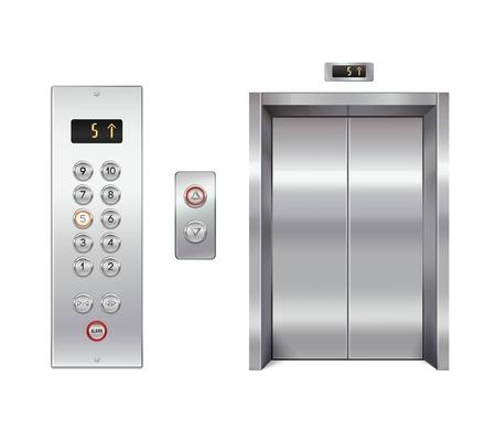 acero: Ascensor diseño conjunto con la puerta cerrada y aislada panel de botones ilustración vectorial Vectores