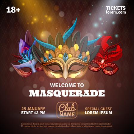 mascaras de carnaval: Mascarada poster realista con boletos del partido y los s�mbolos del club ilustraci�n del vector Vectores