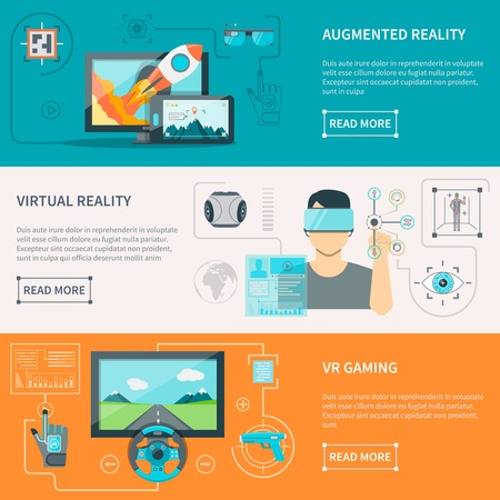 Augmented reality by electronic glass virtual reality wear and VR gaming with controllers flat horizontal banners vector illustrations