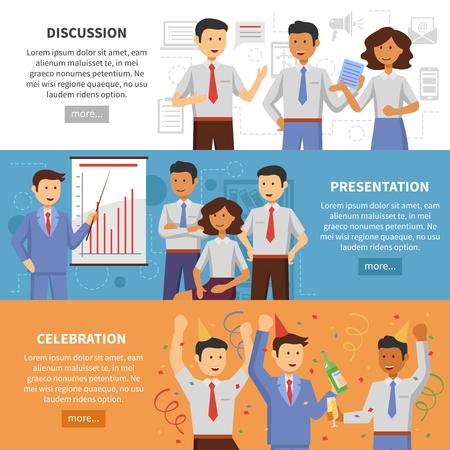 personas trabajando en oficina: La cooperación empresarial banner horizontal establece con la ilustración del vector de presentación y discusión celebración oficina de elementos planos aislados