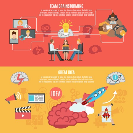 brainstorming: Team brainstorming work for creating idea and great idea metaphor banners flat vector illustration Illustration