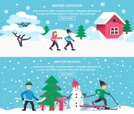 webpage: Winter holidays new year outdoor celebration with presents under christmas tree 2 flat banners design vector illustration Illustration
