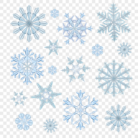 icy: Realistic blue icy snowflakes decorative icons set isolated on transparent background vector illustration
