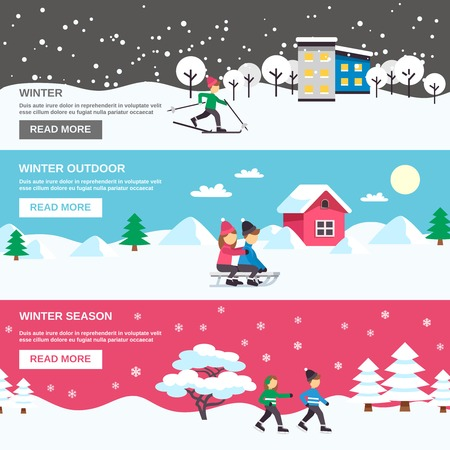 webpage: Winter season outdoor activities for children 3 flat interactive banners webpage design abstract isolated vector illustration