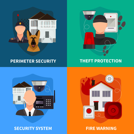 theft: Home security 2x2 flat design concept set of theft protection fire warning and electronic alarm systems vector illustration