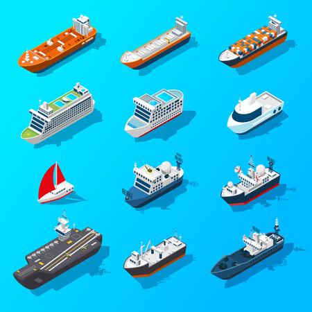 Navi motoscafi vela yacht e navi passeggeri icone isometriche impostate sul banner superficie dell'acqua isolato vettore illustrazione vettoriale Vettoriali