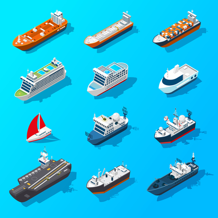 Ships motorboats sailing yachts and passenger vessels isometric icons set on water surface banner isolated vector illustration vector Ilustração
