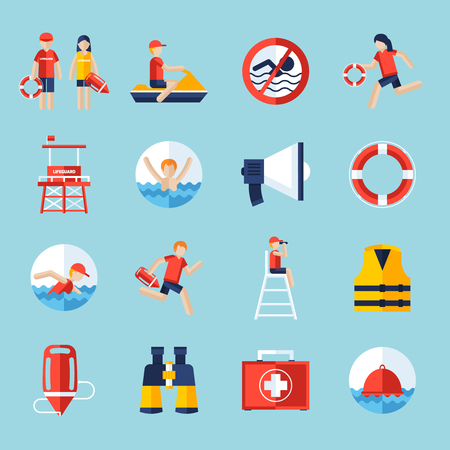 warning vest: Lifeguard flat icons set with swimming people and water rescue symbols isolated vector illustration Illustration