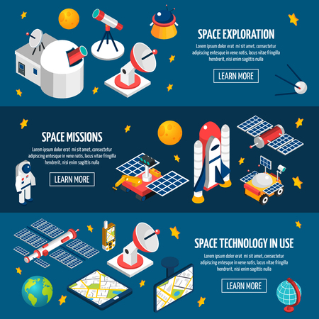 exploration: Horizontal banner about space exploration using different equipment with dark background Illustration