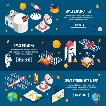 astronomie: Horizontale Banner über die Weltraumforschung verschiedene Geräte mit einem dunklen Hintergrund mit