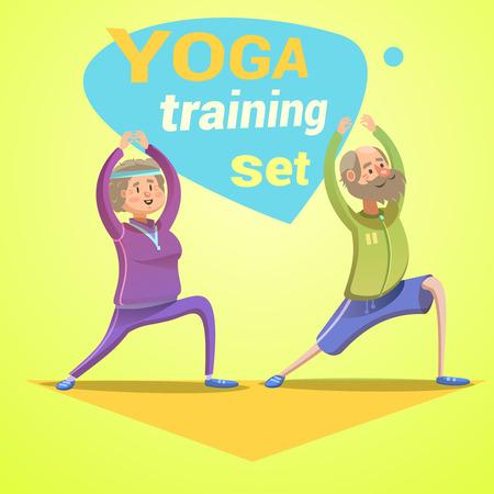 トレーニングのベクトル図を作る幸せな高齢者とヨガ レトロ漫画